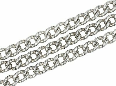Tiffany & Co Vintage 925 Sterling Silver Fancy Textured Rolo Link Chain Necklace