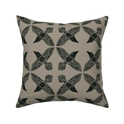 Rravens Ravens Beige Black Bird Throw Pillow Cover w Optional Insert by Roostery