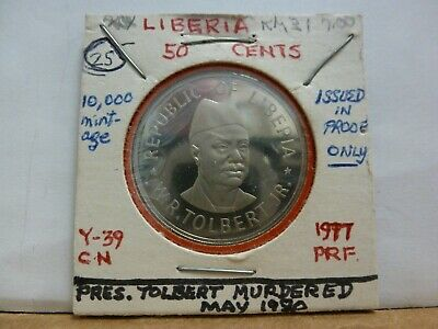 1977 LIBERIA 50 Cents  Proof