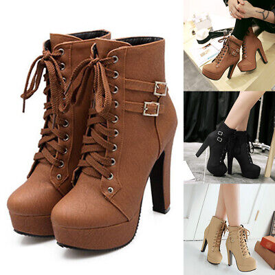 Women Autumn Boots Waterproof Belt Buckle Round Front Lace-up High Heels