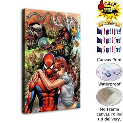 "12""x18""Girl holding spiderman HD Canvas prints Painting Home decor Room Wall art"