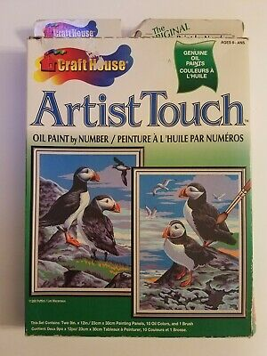Vintage Artist Touch 2 Oil Paint By Number Craft House Puffins 11260