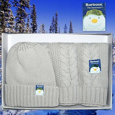 Barbour Aire Knit Hat and Scarf Set THE SNOWMAN Women's Beanie Cable Gray