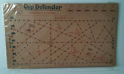 Vtg.1903 LION COFFEE trade card sheet-'CUP DEFENDER' yacht game-one sheet-Unused