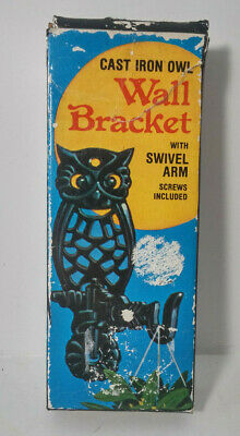 Vintage 1977 Cast Iron Owl wall bracket-5 inch ~ New in Orig. Box -#5488