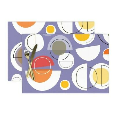 Cloth Placemats Mod Moon Abstract Purple Lunar Eclipse Mid Century Set of 2
