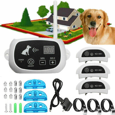 1/2/3 Wireless Dog Fence Pet Containment System Transmitter Collar Rechargeable