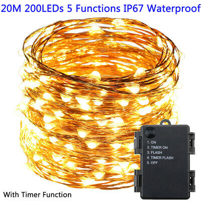 200 LEDs Battery Micro Rice Copper Wire Fairy String Lights Xmas Timer Function