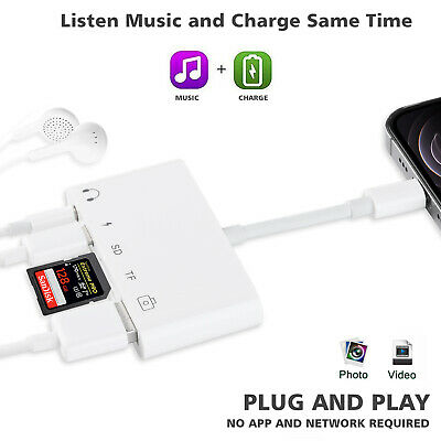 5-IN-1 Card Reader Hub for Data Transfer Listening Charging on iPhone iPad 7th