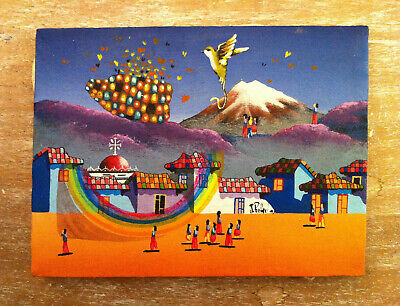 Vintage folkart miniature painting canvas colourful village scene Naive Malerei