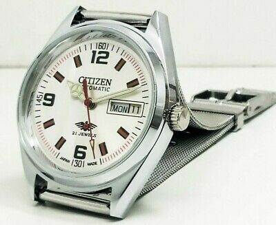 Citizen Automatic Mens Steel Plated Vintage White Dial Made Japan Watch Order