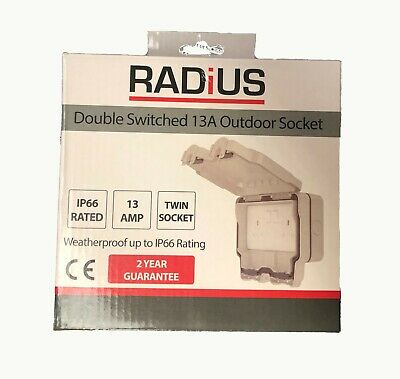 RADIUS Outdoor Socket 2 Gang 13a Switched IP66