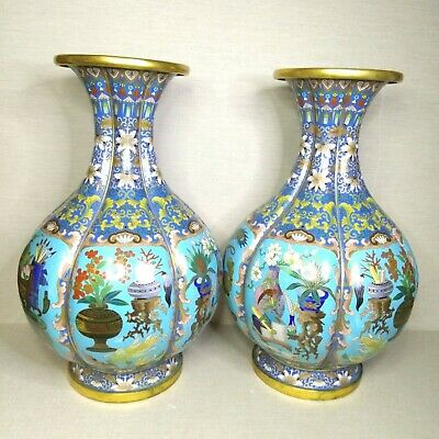 Antique A pair of Chinese cloisonne vases, 19th-20th century.