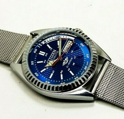 Citizen Automatic Mens Steel Plated Vintage Blue Dial Made Japan Watch Order