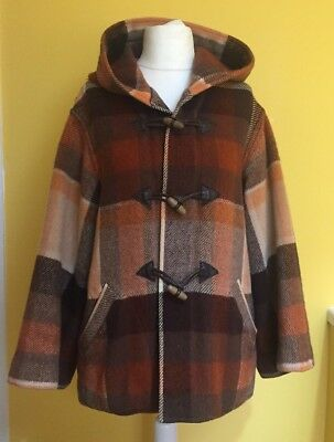 Superb 100% Wool Hooded Jacket ~Made in Uruguay~Duffle Toggle Check Plaid 12-14
