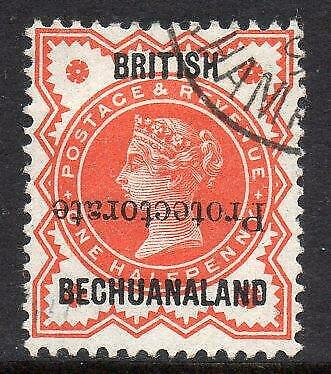 BECHUANALAND USED 1890 SG54a 1/2d Vermilion, Protectorate Inverted