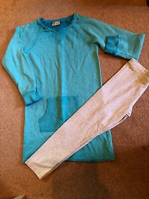 Girls Next Jumper And Leggings Set Age 8-9 Blue/Grey Fab Condition