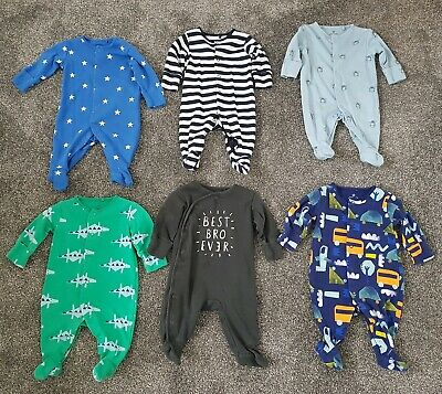 Next Baby Boy Sleepsuits x 6 - Up To 1 Month / 0-1 Month