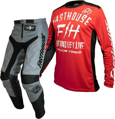"""Fasthouse GRINDHOUSE Motocross Gear GREY DICKSON RED ADULT 32"""""""