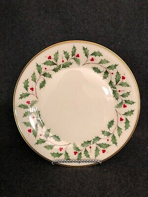 Lenox Holiday China Dinner Plate Gold Trim Christmas Holly Berry