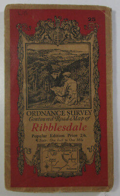 Old Vintage 1933 OS Popular Edition One-Inch Map 25 Ribblesdale Ordnance Survey
