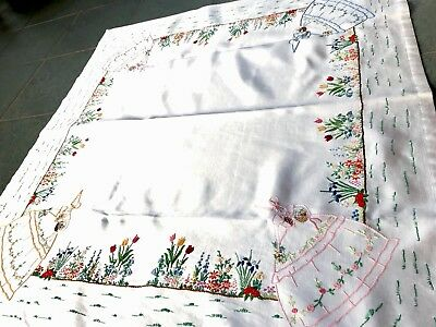 """Beautiful Vintage Hand Embroidered Off White Satin """" Crinoline Lady """" Tablecloth"""