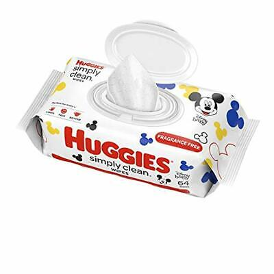 HUGGIES Simply Clean Fragrance-free Baby Wipes, Soft Pack (64 Sheets Total), Alc