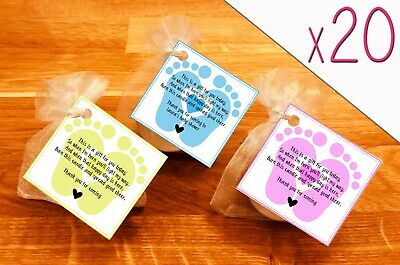 Baby shower scented candles favours tealights baby feet Yellow pink blue 20 pack