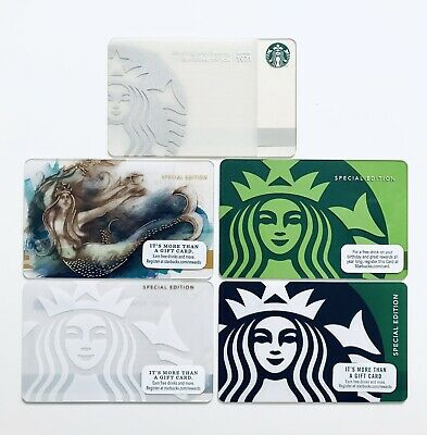 5 STARBUCKS RARE Siren Mermaid Special Limited Editions Gift Cards New