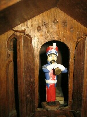 Antique G.h.s. Black Forest Trumpeter  Cuckoo Clock  Gordian Hettich Sohn