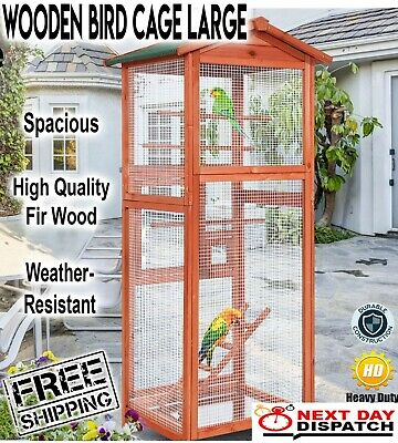 Bird Cage Wooden Pet Cages Aviary Large Carrier Travel Canary Parrot Garden New