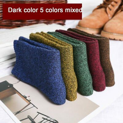 5Pairs/Set Men Wool Cashmere Socks Super Thick Winter Warm Soft Thermal Socks