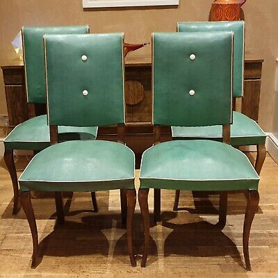 EARLY 20th CENTURY FRENCH ART DECO STYLE VINYL DINING CHAIRS