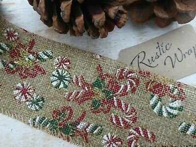 1m X 63mm CANDY CANE HESSIAN CHRISTMAS RIBBON CAKES//GIFT WRAPPING