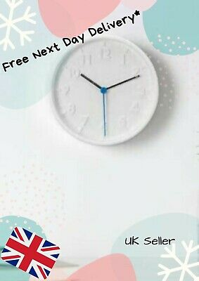 Wall Clock Round White Blue Silent Quartz Free Next Working Day Delivery**