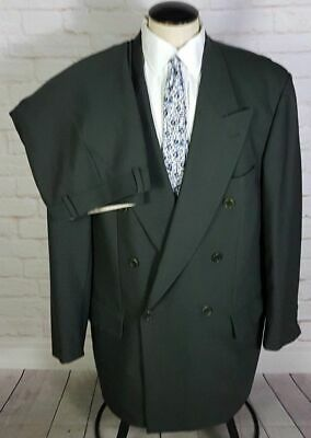 Hugo Boss Al Capone Men's Suit Double Breasted Pleated Brown Wool Size 42R 35W