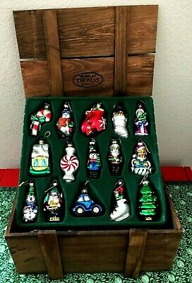 Thomas Pacconi Museum  Series ~ 29 Glass Blown Christmas Ornaments~ Wooden Case