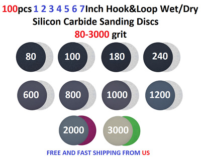 "100pcs 1 2 3 4 5 6 7"" Hook&Loop WetDry Silicon Carbide Sanding Disc 80-3000 grit"
