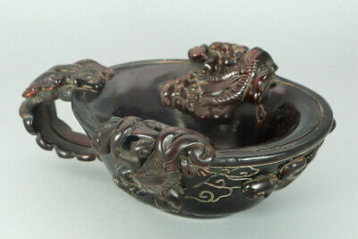 Chinese Exquisite Hand carved beast Carving OX horn cup