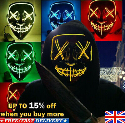 Neon Stitched Mask LED Wire Light Up Halloween-Party & Rave Purge Glow In DarkS