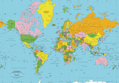 Map Of The World  * Large A3 Size Quality Canvas Print