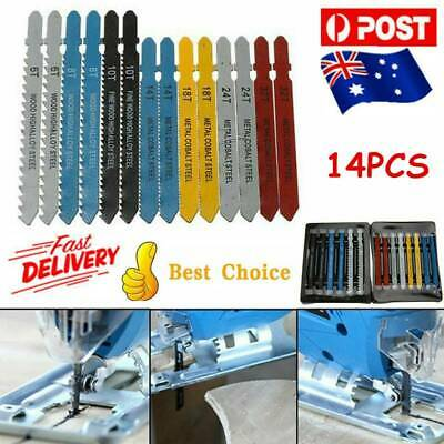 14X Assorted T-Shank Jigsaw Blades Set Metal Plastic Wood Jig Saw Cutter Tool AU