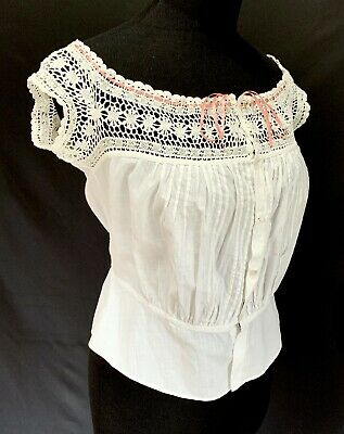 Antique Victorian White Cotton Lawn Corset Cover with Crocheted Lace