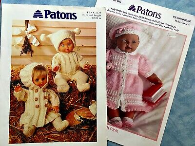 Patons DOLLS  CLOTHES  KNITTING  PATTERNS  - 2 Leaflets  C5179 & 02787 - DK Yarn