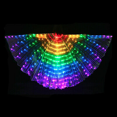 Rainbow LED Butterfly Wings Glow Light Up Belly Dancing Festival Angel Party