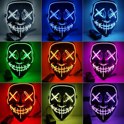 LED Purge Mask Glow in Dark Light up Halloween Costume Scary Rave Festival