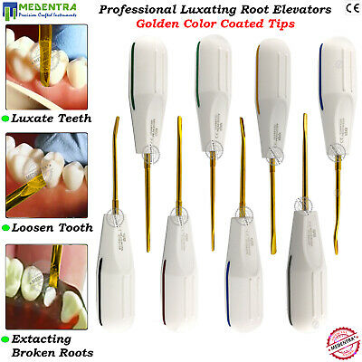 8Pcs PDL Luxating Dental Root Elevators Oral Surgery Tooth Loosening Golden Tips