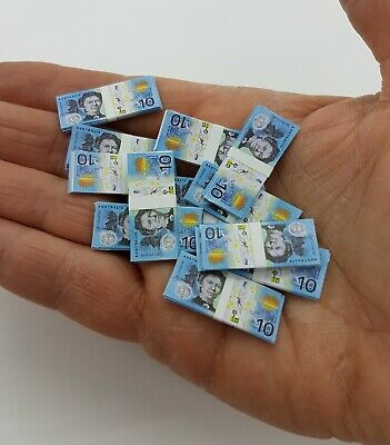 Doll House Accessories 1:12th Miniature - 2 Sheets of  $10 Banknotes