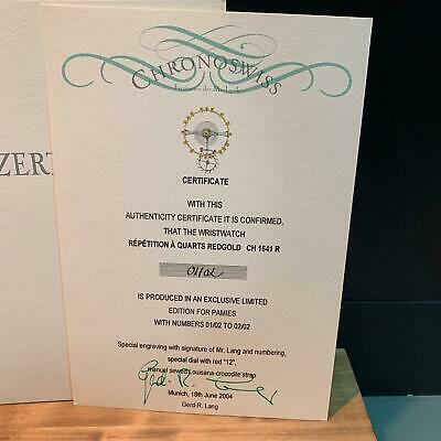 Chronoswiss Official International certificate of authenticity