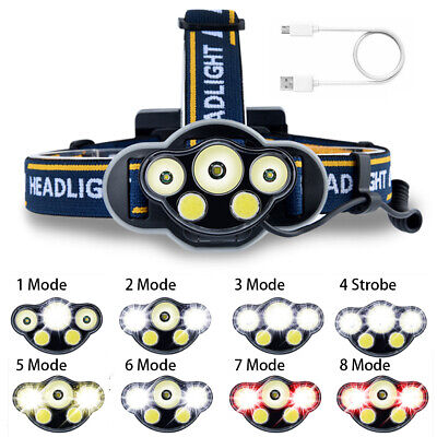 60000LM 5X T6 LED Headlamp Head Light Torch Rechargeable Flashlight Camping Lamp